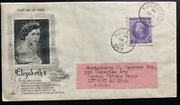 1953 Kincardine Canada First Day Cover FDC Coronation Queen Elizabeth II QE2