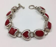 Vintage Red Enamel Chunky Geometric Mexican Chain Bracelet 7 1/2 in Sterling ...