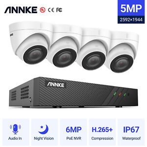 ANNKE H500 6MP 8CH NVR Dome IP CCTV Outdoor Camera IP67 Home Security PoE Kit UK