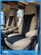 2 Stück Wohnmobil Sitzbezüge Schonbezüge Fahrer und Beifahrer 828 Beige- Schwarz