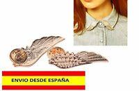 BROCHE PIN ALFILER CUELLO CAMISA BLUSA DORADOS HERMOSOS 2 PIEZAS ALAS DE ANGEL