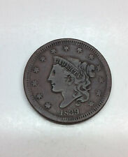1839 Coronet Head Large Cent(head of 1838)/ Very Fine VF