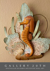 MID CENTURY BRUTALIST SEA HORSE WALL SCULPTURE! TEAK METAL ART! VTG 1960s BEACH