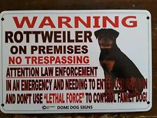"Metal Warning Rottweiler Dog Sign For FENCE ,Beware Of Dog 8""x12"" Guard Dog Dogs"