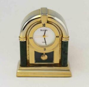 Bulova Miniature Clock Ophilia B0582 Solid Brass