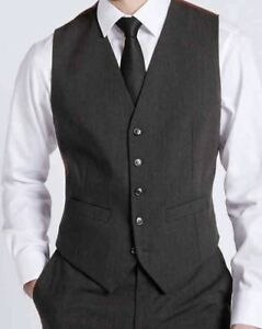 M&S MENS CHARCOAL GREY WAISTCOAT FORMAL BUSINESS WEDDING WORK SUIT WAISTCOAT
