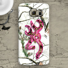 White Pink Deer Head Camo Snow Samsung Galaxy S3,S4,S5,S6,S6 Edge,S6 Edge+, Case