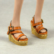1/6 Scale Phicen, Hot Toys, NT Female Medium Brown Strap Sling-Back Wedge Shoes