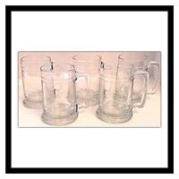 Set Of Five Glass Beer Steins Mugs Glasses