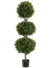 "56"" Boxwood 3 Ball Topiary Artificial Tree W Pot In Outdoor Plant Patio Fake"