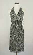 Michael Kors Gray Animal Print Mesh Stretch Ruched Sexy Flowy Dress XS 0 2