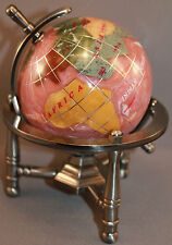 Genuine Multi-Gemstone Desktop Globe Pewter Tone Base Light Purple Globe Free SH