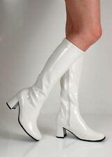 Ladies Retro 60`s Knee High Wedge Heel White Zipped Shiny Go Boots Sz 4/5/6/ 7/8
