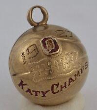 Vintage 1927 10K Yellow Gold Katy Champs Basketball Charm FOB 4.6 Grams