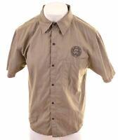 TIMBERLAND Mens Shirt Short Sleeve Large Khaki Cotton  KZ23