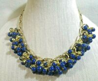 MIRIAM HASKELL Russian Gold Gilt Chain Bib Necklace w/ Royal Blue Bead Clusters