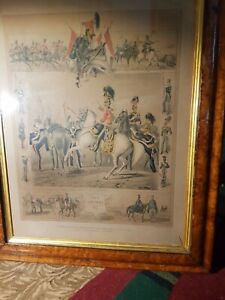 1846 Henry Graves Print THE LANCERS N 6 M Angelo Hayes Lithographic Walnut frame