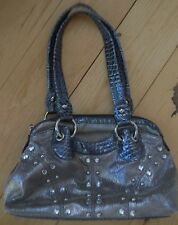 KATHY VAN ZEELAND RHINESTONE STUD BLING SATCHEL FAUX LEATHER SNAKESKIN PURSE BAG