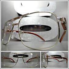 7f71a37031 Clásico Estilo Vintage Lente Transparente Gafas Plata & Madera Moderno Marco
