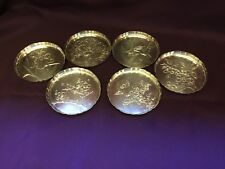 Lot of 6 Antique Japanese Sterling Silver Etched Engraved Coasters 174.3 Grams