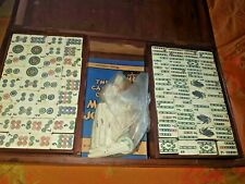 More details for bamboo and bone mahjong set with 4 cantilevered lacquered tile holders