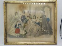 Antique Hand Tinted Fashion Print Godey's Fashions January 1862 Victorian Framed