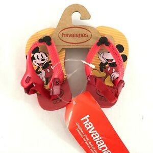 Havaianas Toddler Boys Flip Flop Sandals Mickey Mouse Plastic Red Size 4