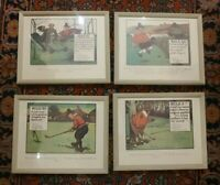 Perrier Golf Rules Chas Crombie  Framed Prints Lot of 4