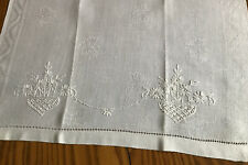 """Vintage Linen Damask Towel ~ 15""""x21"""" ~ White-on-White Hand Embroidered Floral"""