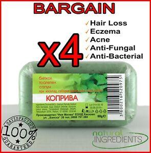 4x Herbal Nettle soap Hair Loss,Eczema,Acne,Exfoliation,Anti-bacterial,Seborrhea