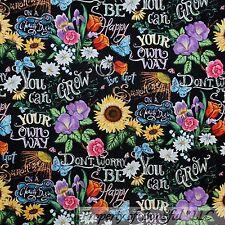 BonEful Fabric FQ Cotton Quilt Black White B&W Rain*bow Sun*Flower Word Daisy US