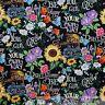BonEful Fabric FQ Cotton Quilt Black White B&W Rainbow Sunflower Word Daisy Girl