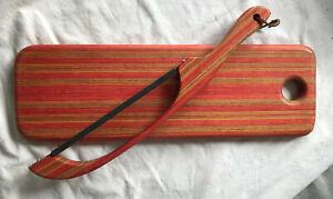 2 Pc Set - Mixed Woods Cutting Board and Matching Appalachian Fiddle Saw Knife