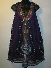 Dress Fits M L XL Sundress Beach Cover Dashiki Purple V Neck Tunic NWT Tm242
