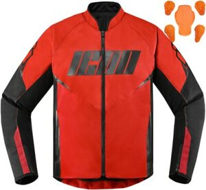 Icon Men's Hooligan Motorcycle Jacket Red All Sizes