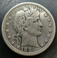 1904-O Barber Quarter Extremely Fine XF almost AU Details Graffiti Eye Appeal