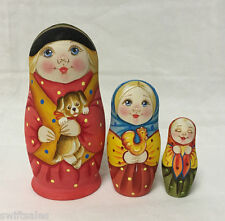 Matryoshka Russian Wooden Nesting Dolls - 3 Pieces Unique Coloring Set #5