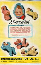 1941 PAPER AD 2 Sided Knickerbocker Toy Sleepy Head Doll Panda Bear Monkey Lamb