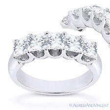 Square Cut Moissanite 14k White Gold 5 Five-Stone Anniversary Ring Wedding Band