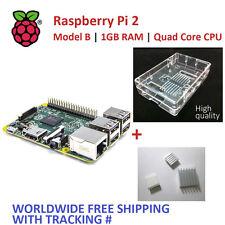 RASPBERRY PI 2 - Model B 1GB RAM + High Quality Transparent Case + Heatsinkx3
