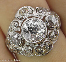 GIA 2.25CT ANTIQUE VINTAGE OLD EURO DIAMOND ENGAGEMENT WEDDING RING PLAT