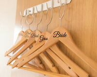 8 x Different Wedding Bridal Party Vinyl Coat Hanger Role Names Decal Stickers