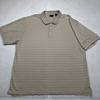 IZOD Polo Shirt Adult 2XL XXL White Brown Golf Rugby Casual Short Sleeve Mens*