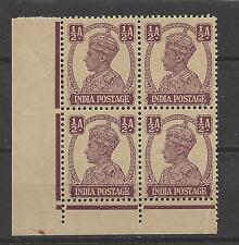 INDIA, BRITISH # 169 MNH KING GEORGE VI  1/2 ANNA  Corner Block of 4