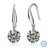 925 Sterling Silver earring CZ Cubic Zirconia clear crystal DLE80