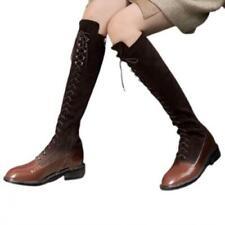 Women Punk Western Cowboy Low Heel Round Toe Patchwork Pattern Knee High Boots L