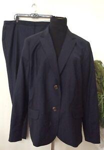 NWT Talbots Women's Navy Blue Wool Blend 2 Piece Pant Suit Size 18W Retail $348