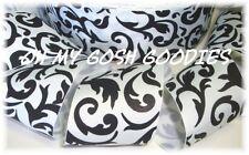 2 1/4 CLASSIC BLACK WHITE DAMASK SCROLL DESIGNER GROSGRAIN RIBBON 4 HAIRBOW BOW