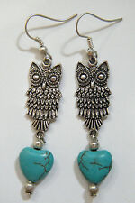 """OWL Earrings & Heart Faux Blue Turquoise 2 1/2"""" Long Silver Plated Ear Wires NEW"""