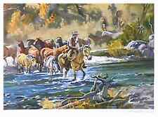 """Conrad Schwiering """"Leading 'em Home"""" 1982. L/E Lithograph - Hand-signed/numbered"""